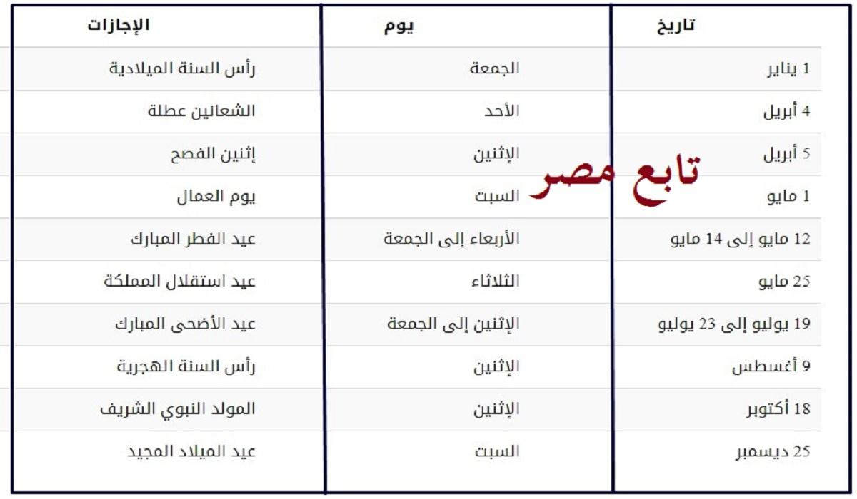 العطل الرسمية 2021 في الأردن || كامل إجازات الأردن الرسمية