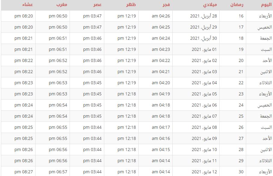 إمساكية رمضان 2021 المدينة المنورة